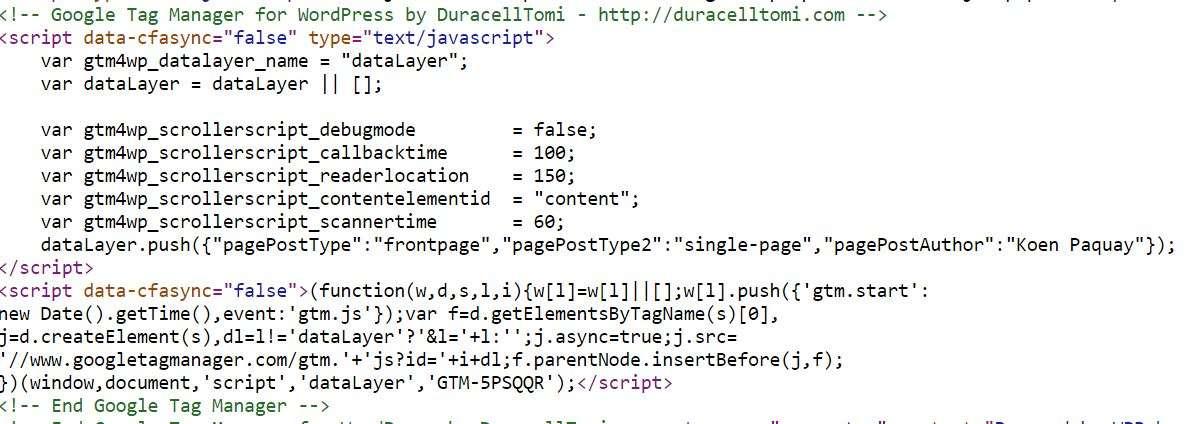 google tag manager script