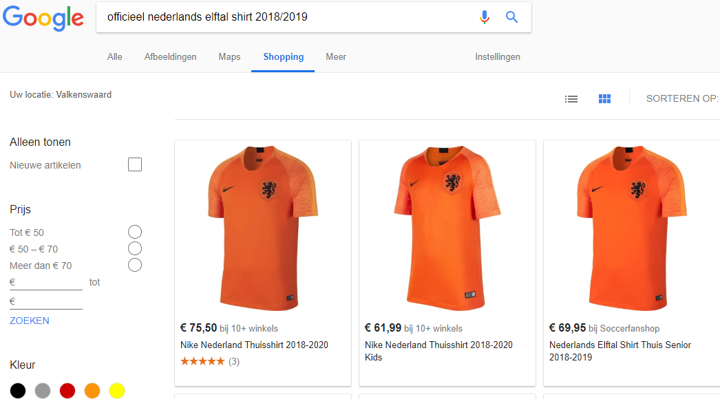 Google Shopping shirts