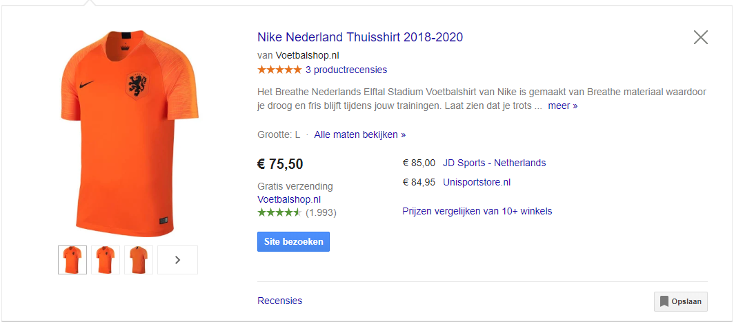 Google shopping zicht
