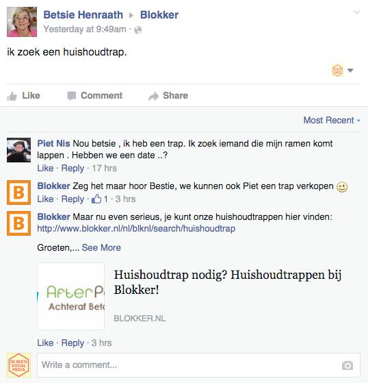 Facebook webcare Blokker