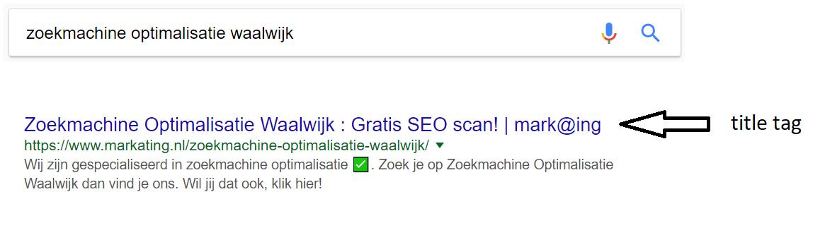 Zoekmachine optimalisatie Waalwijk - title tag