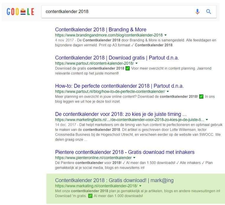 content kalender resultaat in Google