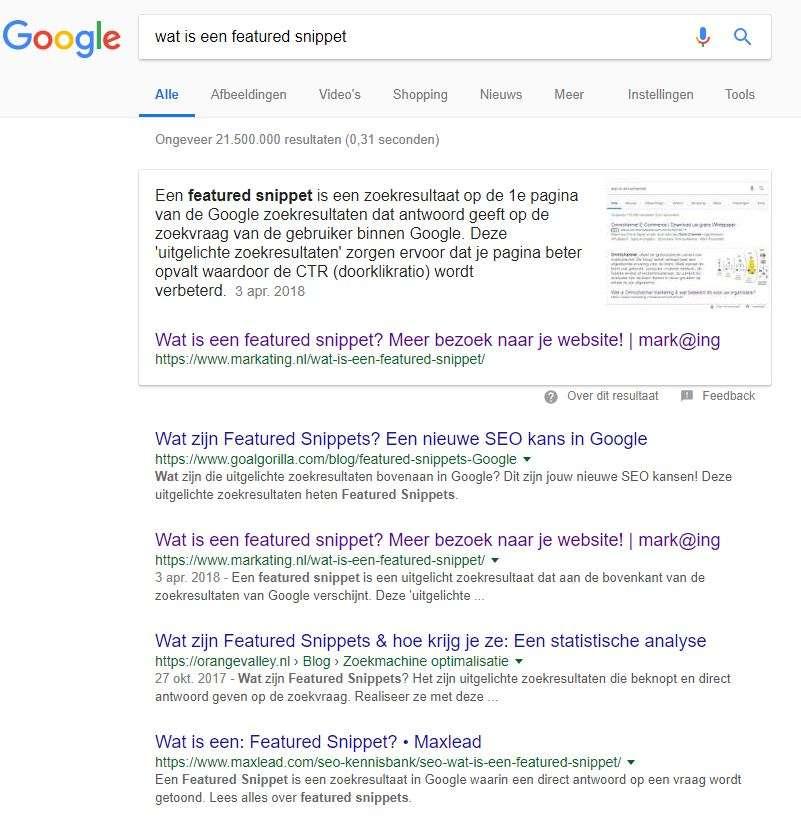 uitgelicht zoekresultaat van mark@ing in de zoekmachine