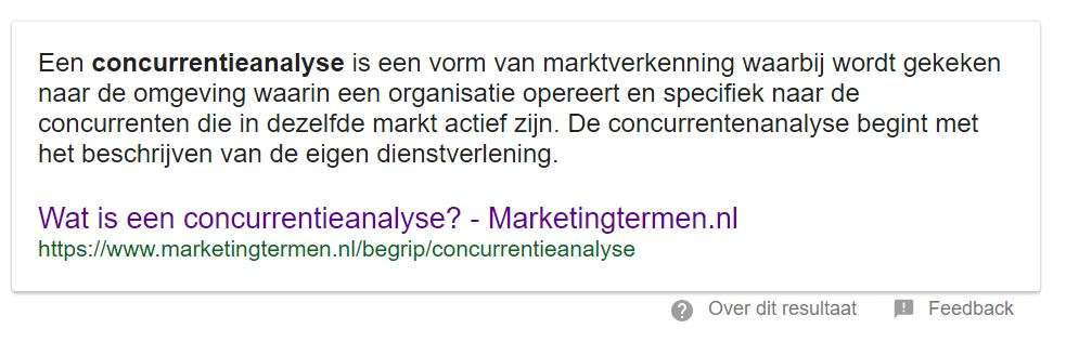 concurrentieanalyse - featured snippet