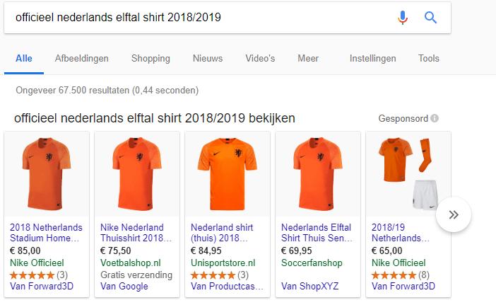 Google Shopping zoekresultaat